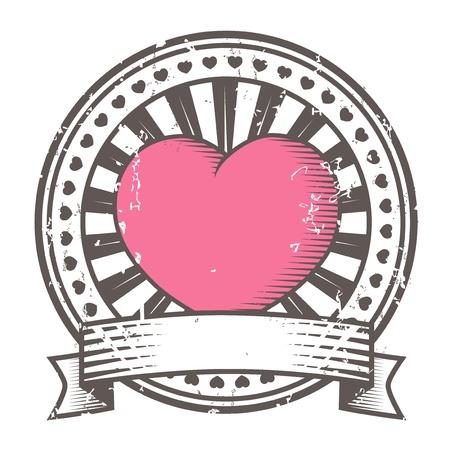 Grunge rubber stamp with heart  Valentine s Day