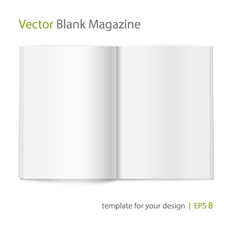 Vector blank magazine on white background  Template for design