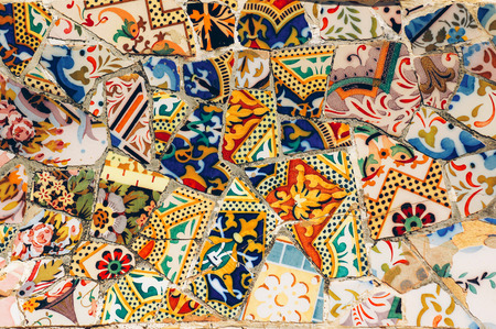 Mosaic on a bench in Park Guell. Gaudi. Barcelona. Spain