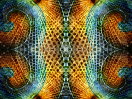 Abstract symmetrical texture or wallpaper. Digital painting