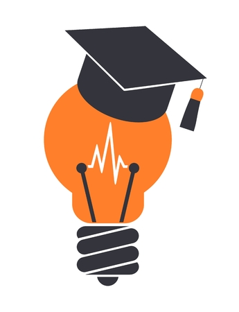 Light bulb with graduation cap. Education icon. Isolated on white background