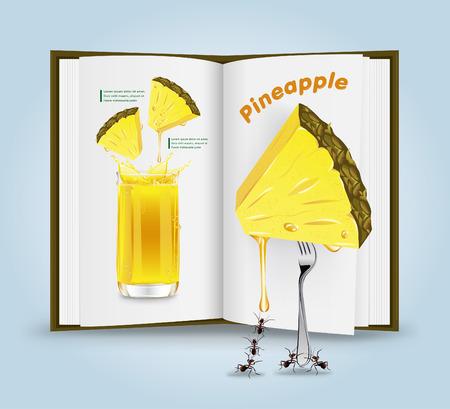 Pineapple juice.vector illustration