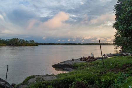 PANTOJA, PERU - JULY 9, 2015: View of a river Napo in Pantoja village, Peru