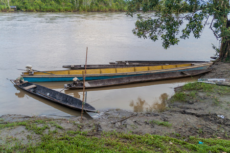 Dugout canoe called Peke Peke on a river Napo, Peru