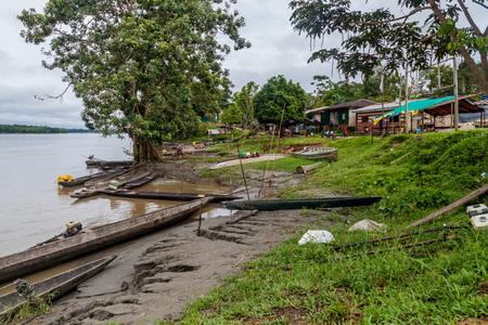 Dugout canoe called Peke Peke on a river Napo in villag Pantoja, Peru