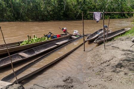 Dugout canoes called Peke Peke on a river Napo, Peru