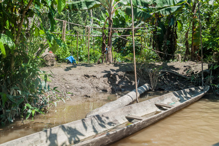 Dugout canoe called Peke Peke in peruvian jungle