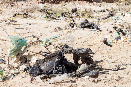 Bushes full of garbage on La Guajira peninsula, Colombia