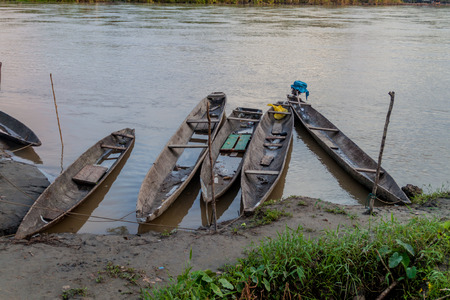 Dugout canoe called Peke Peke on a river Napo, Peru