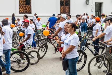 POPAYAN, COLOMBIA - SEPTEMBER 11, 2015: Members of Juntos Pedaleando por la Paz (Together Cycling for the Peace) manifestation in Popayan, Colombia