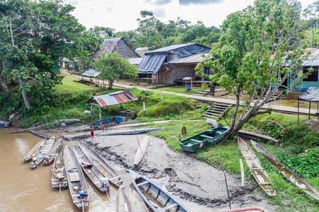 PANTOJA, PERU - JULY 12, 2015: Dugout canoes Peke Peke in Pantoja village, Peru
