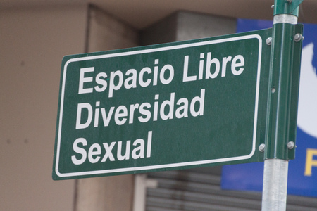 Sign: Espacio Libre Diversidad Sexual (Free Space Sexual Diversity) in Montevideo, Uruguay