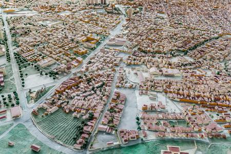 SANTIAGO DE CUBA,  CUBA - FEB 1, 2016: Scale model of the city Santiago de Cuba, Cuba. Located in Maqueta de la Ciudad museum.