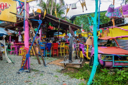 PUERTO VIEJO DE TALAMANCA, COSTA RICA  - MAY 16: View of colorful Outback Jack's Australian Beach Bar & Grill  in Puerto Viejo de Talamanca village, Costa Rica