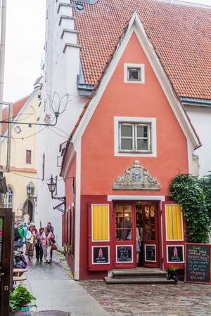TALLINN, ESTONIA - AUGUST 22, 2016: Design shop Oma Asi (The Little Red House) in Tallinn.