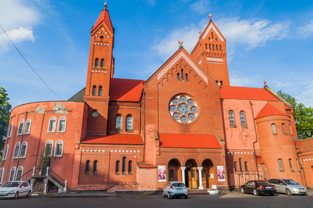 MINSK, BELARUS - JUNE 10, 2017: Saint Simon and Saint Helena Church in Minsk, Belarus