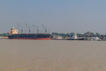 Photo for MONGLA, BANGLADESH - NOVEMBER 13, 2016: Bulk carrier Seiyo Explorer in Mongla Port, Bangladesh - Royalty Free Image