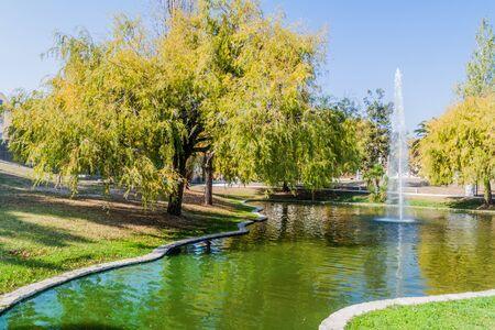 Photo pour Fountain at Parque Infante Dom Pedro park in Aveiro, Portugal - image libre de droit