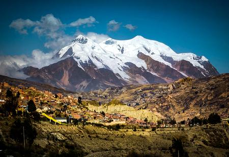 View over La Paz Bolivia with Illimani Mountain