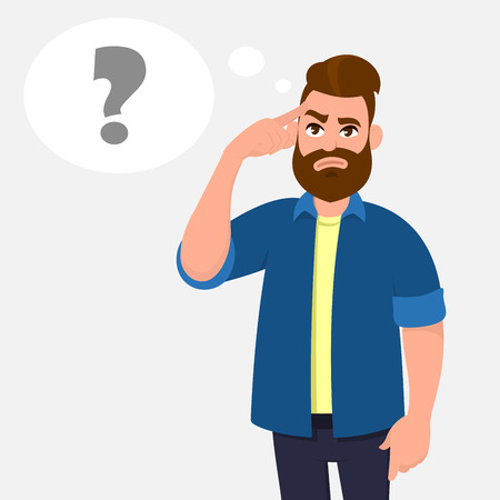 Illustration pour Man touching his temples and questioning. Man holding finger on head and in the thought bubble question mark appearing, remember important information. Thinking and question concept illustration. - image libre de droit