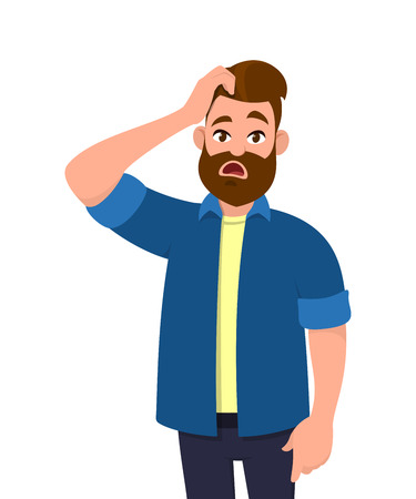 Illustration for Confused young man scratching his head. Emotions and body language concept. Vector illustration in cartoon style. - Royalty Free Image