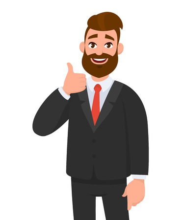 Ilustración de Portrait of excited business man dressed in black formal wear showing thumbs up sign. Deal, like, agree, approve, accept illustration concept in cartoon vector style. - Imagen libre de derechos