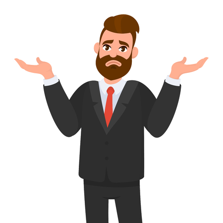 Illustration pour Oops. Sorry. I don't know. Young business man shrugs, shows helpless gesture and spread his hands, he does not know what to do. - image libre de droit