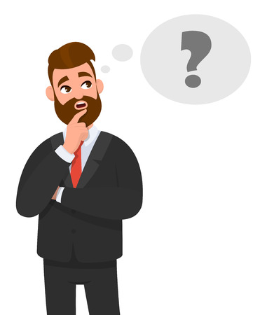 Illustration pour Thoughtful young business man thinking. Question mark icon in thought bubble. Emotion and body language concept in cartoon style vector illustration. - image libre de droit