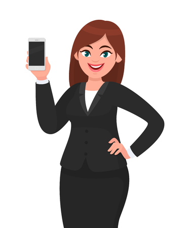 Happy businesswoman showing the blank smartphone. Telecommunication, technology, mobile apps concept illustration in vector cartoon style.