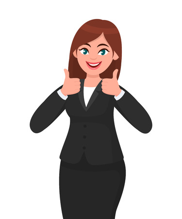 Photo pour Beautiful smiling business woman showing thumbs up sign / gesturing with both hands. Like, agree, approve, positive concept illustration in vector cartoon style. - image libre de droit