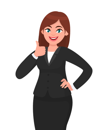 Photo pour Beautiful smiling business woman showing thumbs up sign / gesture. Like, agree, approve, positive concept illustration in vector cartoon style. - image libre de droit