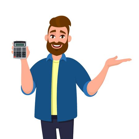 Illustration pour Happy bearded man showing or holding digital calculator device in hand and pointing, presenting something to copy space. Modern lifestyle, technology, business and finance, banking concept in cartoon. - image libre de droit