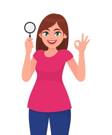 Illustration for Young woman holding magnifying glass. Girl showing okay, OK gesture sign. Female character design illustration. Human emotions, facial expressions, feelings concept illustration in vector cartoon. - Royalty Free Image