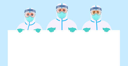 Illustration pour Team of doctors in protection safety suit showing blank poster. Group of surgeons holding empty banner. Physicians displaying white board. Medical staffs wearing hospital PPE uniform. Vector design. - image libre de droit