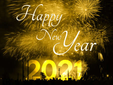 Photo for Happy new year 2021 card on a golden fireworks background - Royalty Free Image