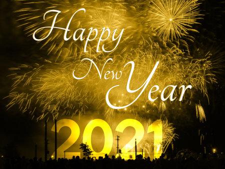 Foto de Happy new year 2021 card on a golden fireworks background - Imagen libre de derechos