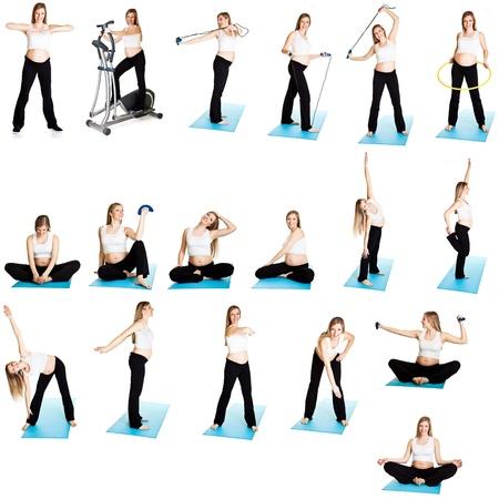 Foto de Pregnant woman fitness collage - Imagen libre de derechos