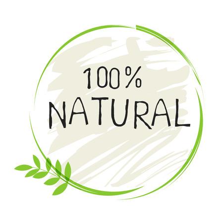 Illustration pour Natural product 100 bio healthy organic label and high quality product badges. - image libre de droit