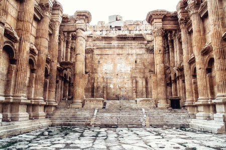 Photo for Historic ancient Roman Bacchus temple in Baalbek, Lebanon - Royalty Free Image