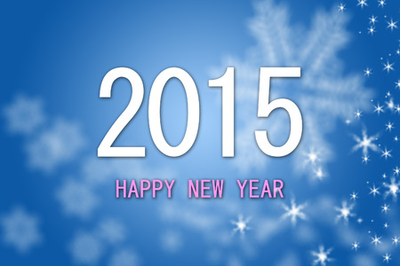 Happy New Year 2015 greeting blue background banner with white snowflakes and stars