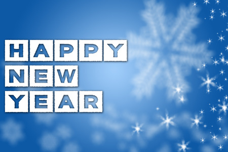 Happy New Year greeting blue background with white snowflakes and stars