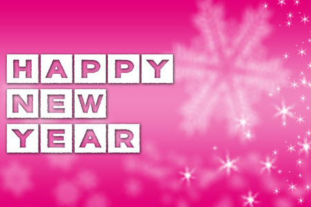 Happy New Year greeting pink background banner with white snowflakes and stars