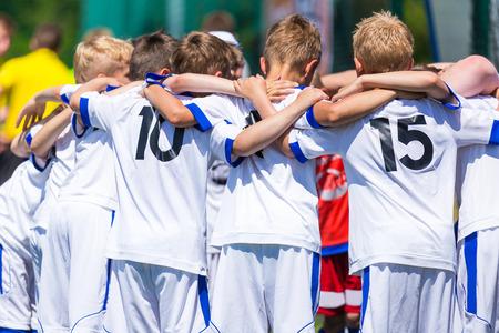 Foto de Football; soccer; handball; volleyball; match for children. shout team, football soccer game. team work - Imagen libre de derechos