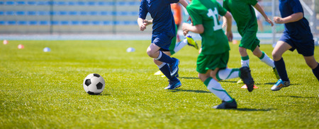 Boys play soccer match. Blue and green team on a sports field