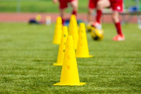Foto de Soccer football equipment; training soccer field - Imagen libre de derechos
