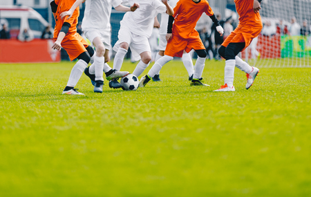 Photo for Soccer Background with Copy Space. Football Players Kicking Ball on the Pitch. Soccer Competition on Gress Grass Field. Sport Soccer Background - Royalty Free Image