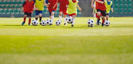 Photo pour Children football training session. Kids running and kicking soccer balls. Young boys improving soccer skills. Football soccer training for kids - image libre de droit
