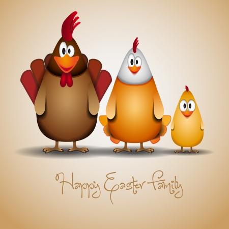 Illustration pour Cute Chicken family - image libre de droit
