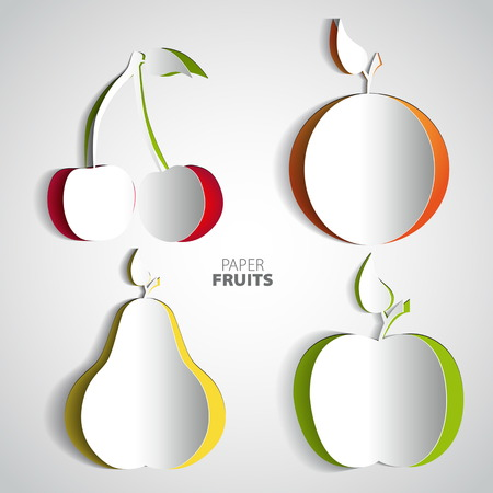 Paper Fruit Set cut out, cherry, orange, pear, apple, mix design card illustration
