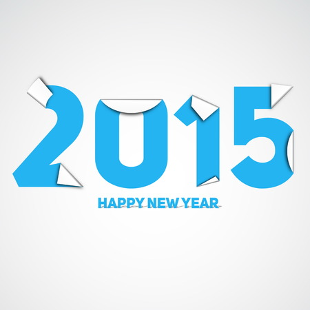 Original Happy New Year 2015 card, vector illustration with paper corners and place for your text